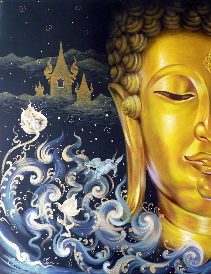 Acrylic Painting - The Light Of Buddhism by Chonkhet Phanwichien