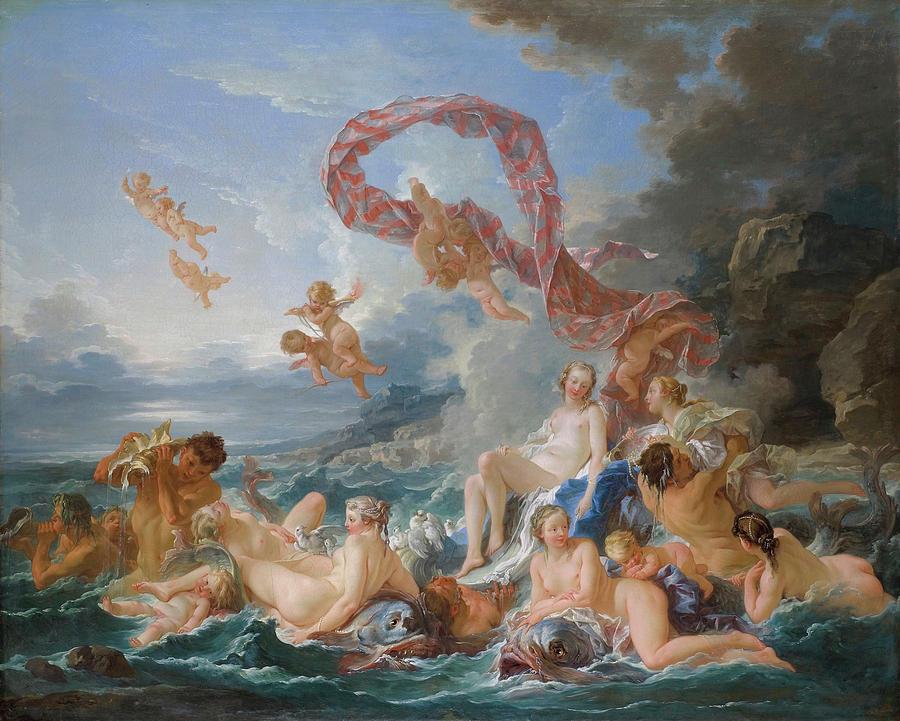 Mythical Creatures Photograph - The Triumph Of Venus 7 by Francois Boucher