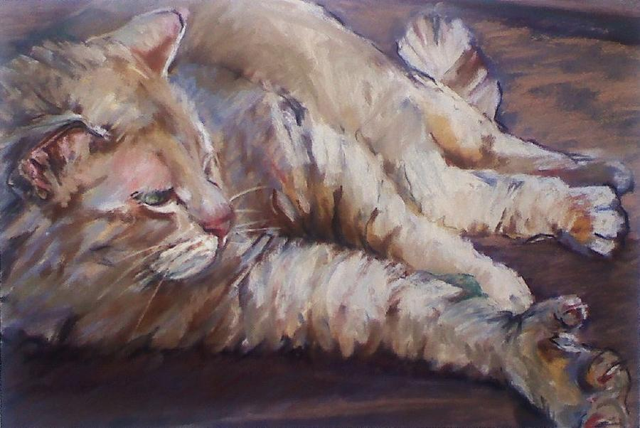 Cat Painting - 6 Toe Stretch by Michelle Winnie
