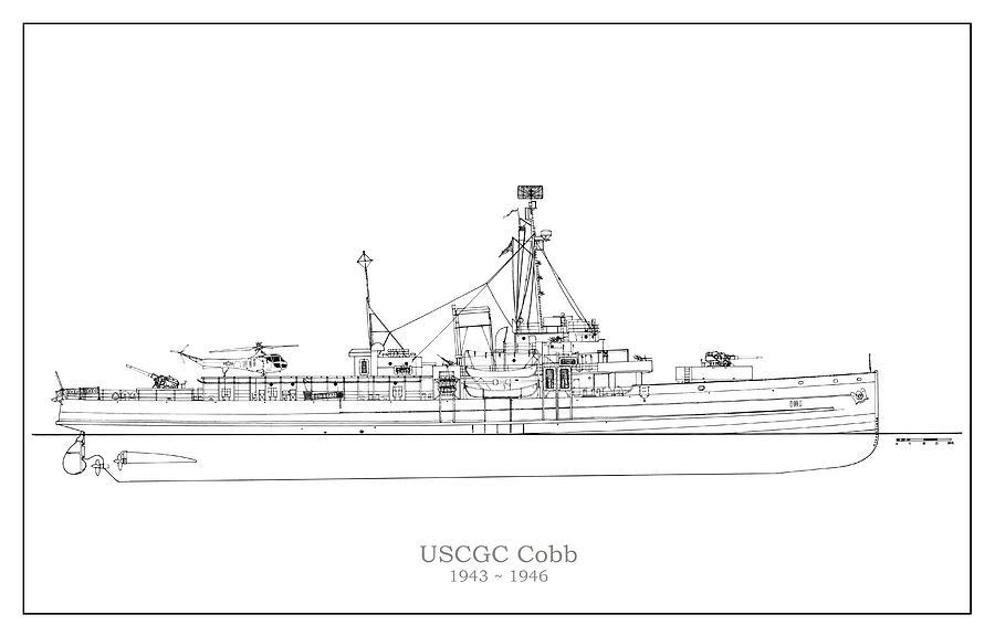 Coast Guard Drawing - U.S. Coast Guard Cutter Cobb by StockPhotosArt Com
