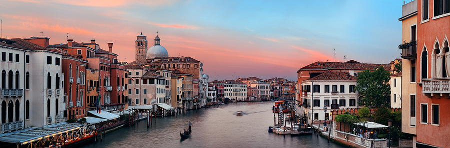 Venice Photograph - Venice Grand Canal Sunset by Songquan Deng