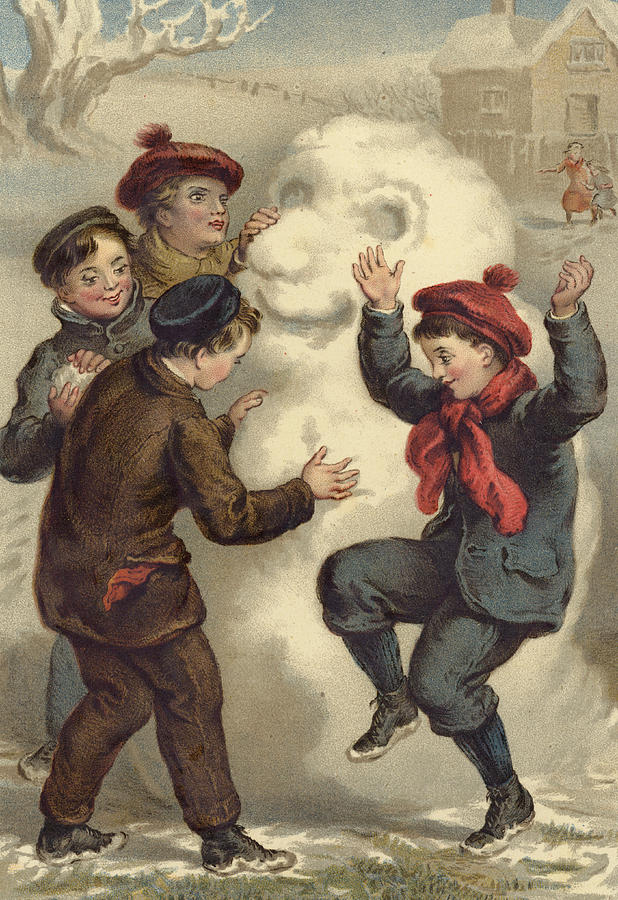 Vintage Christmas Card Painting By English School