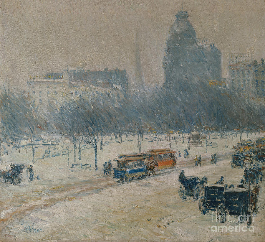 Childe Hassam Painting - Winter In Union Square 7 by Childe Hassam