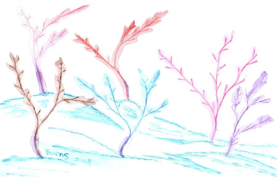 Winter Digital Art - 6 Winter Trees by Barbara Burns