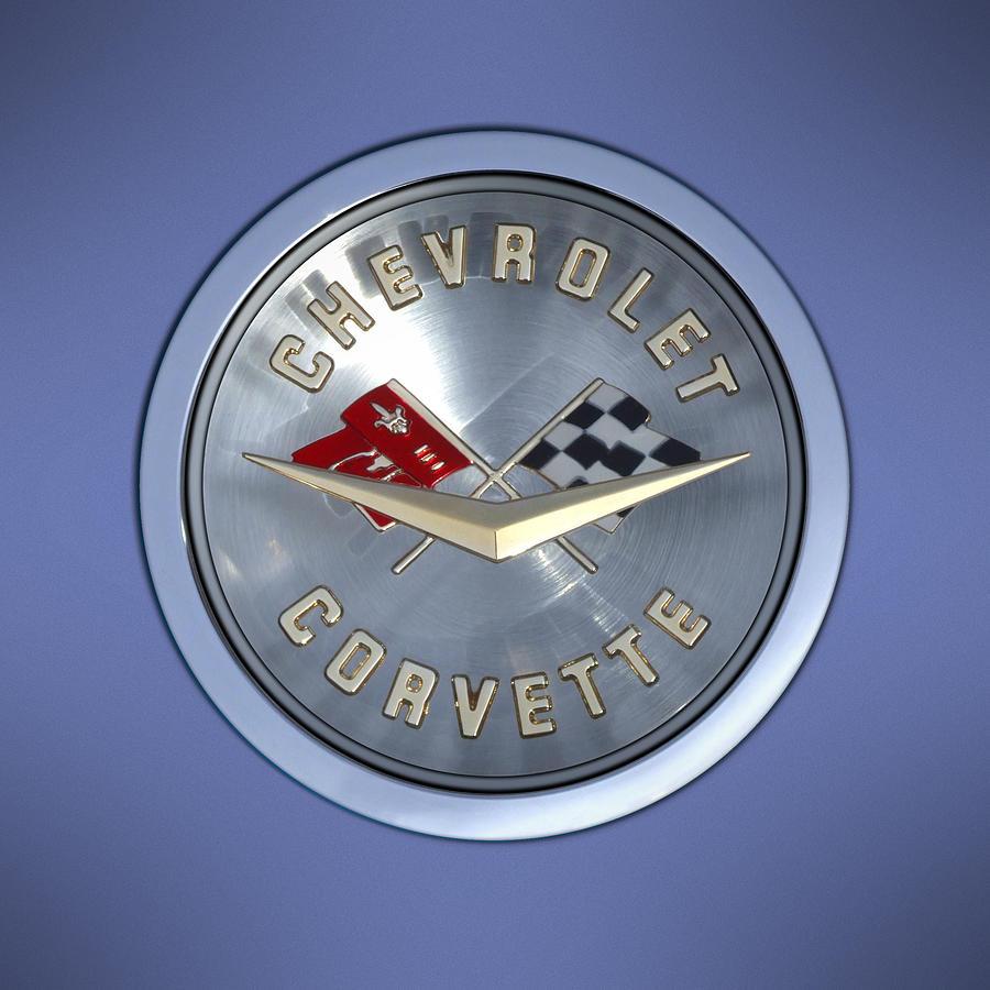 Chevrolet Corvette Photograph - 60 Chevy Corvette Emblem  by Mike McGlothlen