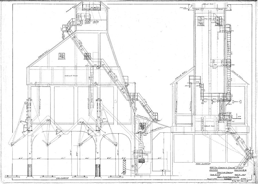 600 Ton Coaling Tower Plans by Baltimore and Ohio Railroad