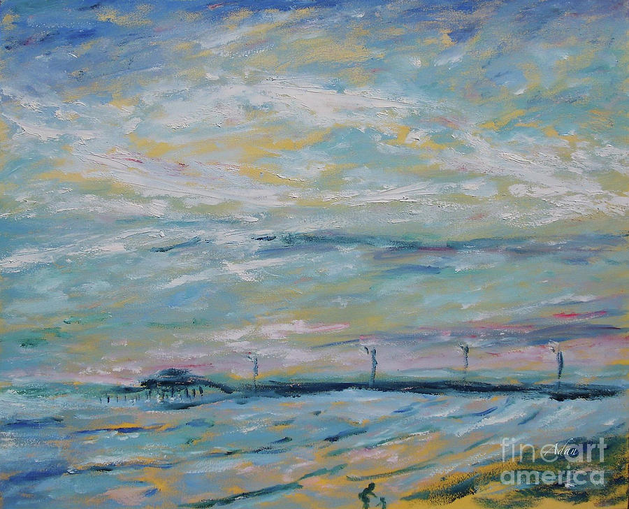 61st Street Pier Galveston Texas Painting
