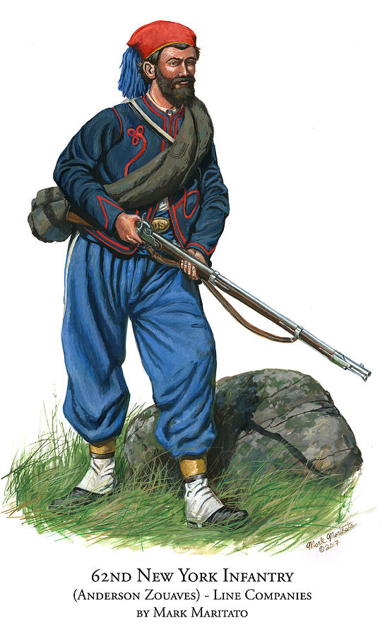 62nd New York Infantry - Anderson Zouaves - Line Companies Painting