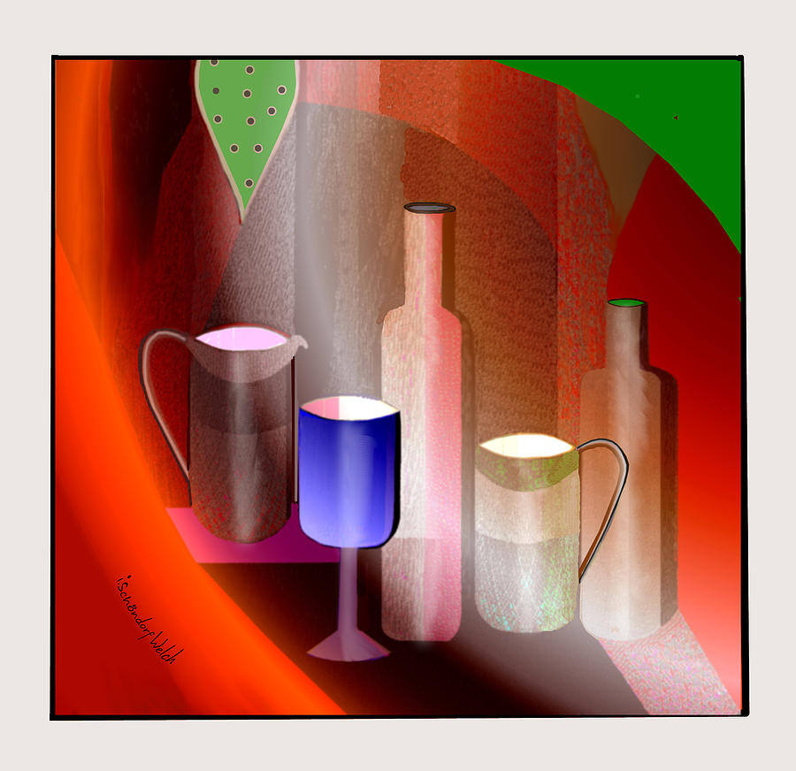 643 Painting - 643  Still Life  With Bottles And  Cups  V  by Irmgard Schoendorf Welch