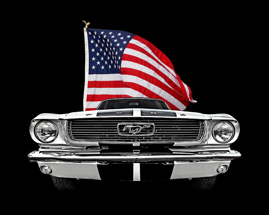 66 Mustang With U.S. Flag On Black by Gill Billington