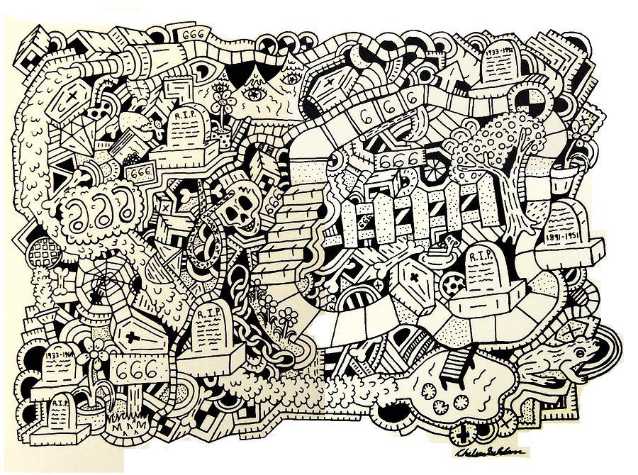 666 Drawing - 666 by Chelsea Geldean