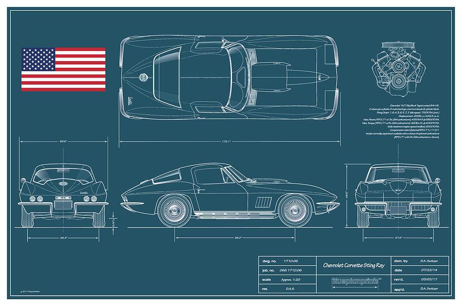 Corvette Sting Ray Digital Art - 67 Corvette 427 Coupe Blueplanprint by Douglas Switzer