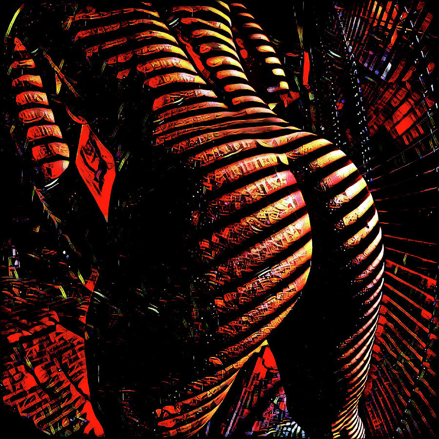 6799s-NLJ Zebra Striped Nude Booty by Window Rendered as Abstract Oil in Reds by Chris Maher