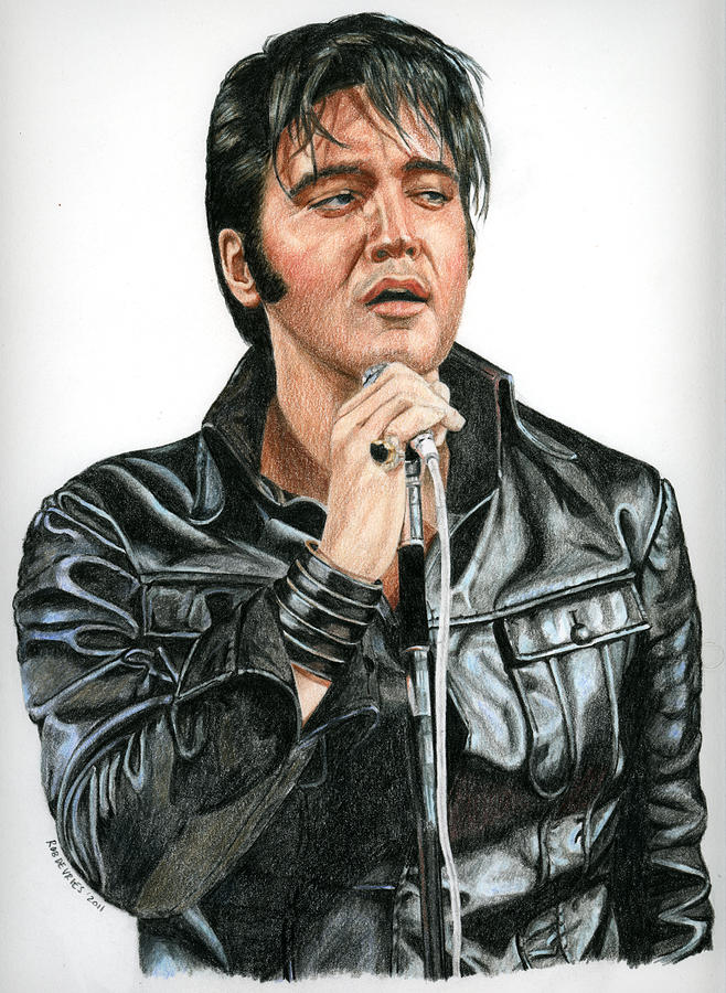 Elvis Drawing - 68 Comeback by Rob De Vries