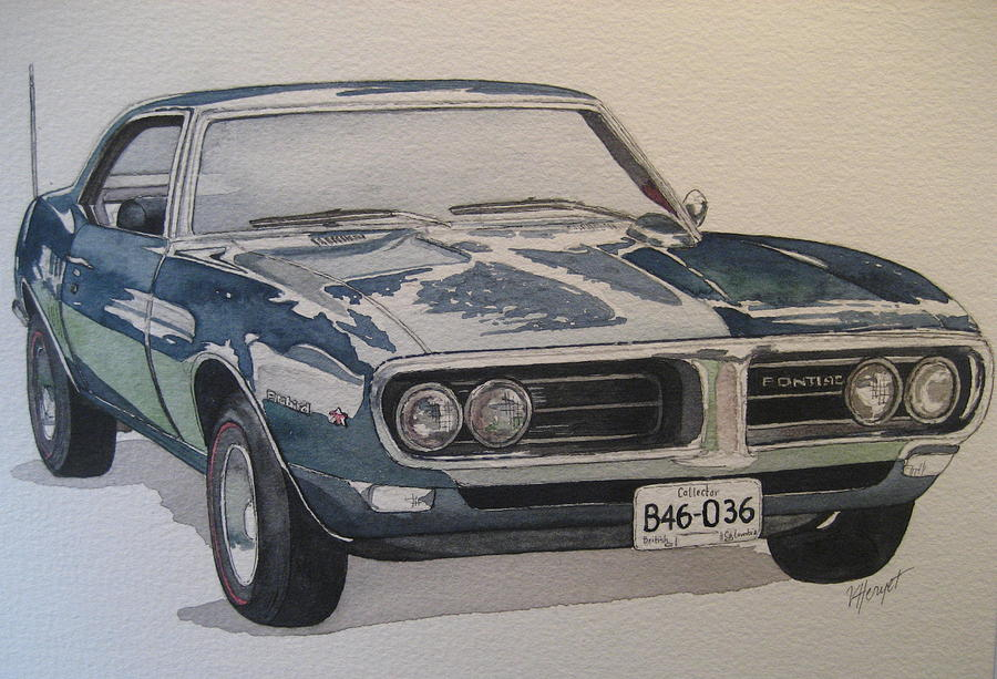 Muscle Car Painting - 68 Firebird Sprint by Victoria Heryet