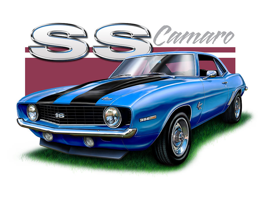 1969 Digital Art - 69 Camaro Ss In Blue by David Kyte
