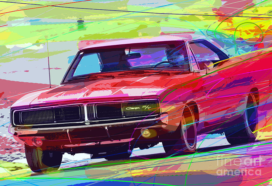 69 Dodge Charger Painting By David Lloyd Glover