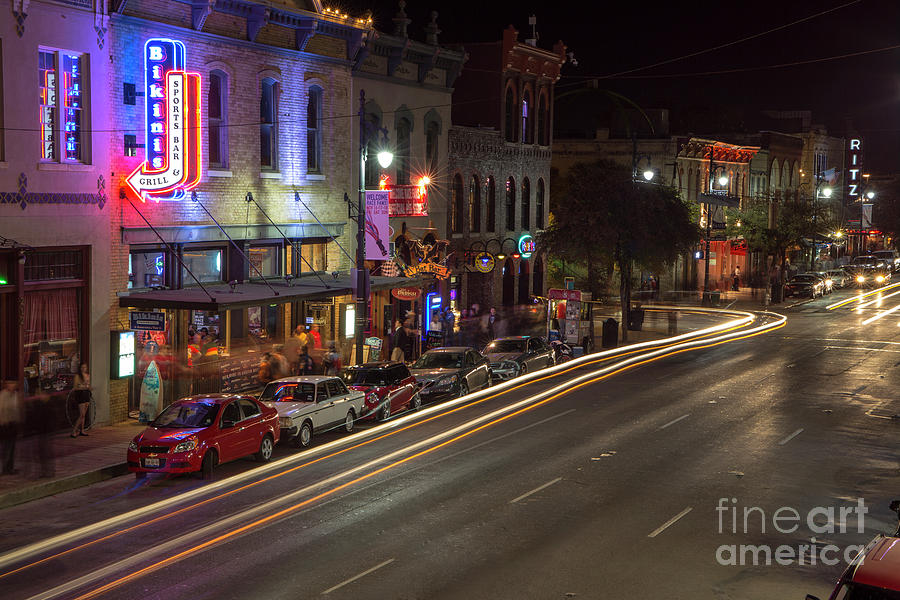 6th Street Photograph - 6th Street Entertainment And Live Music District Is The The Prim by Herronstock Prints