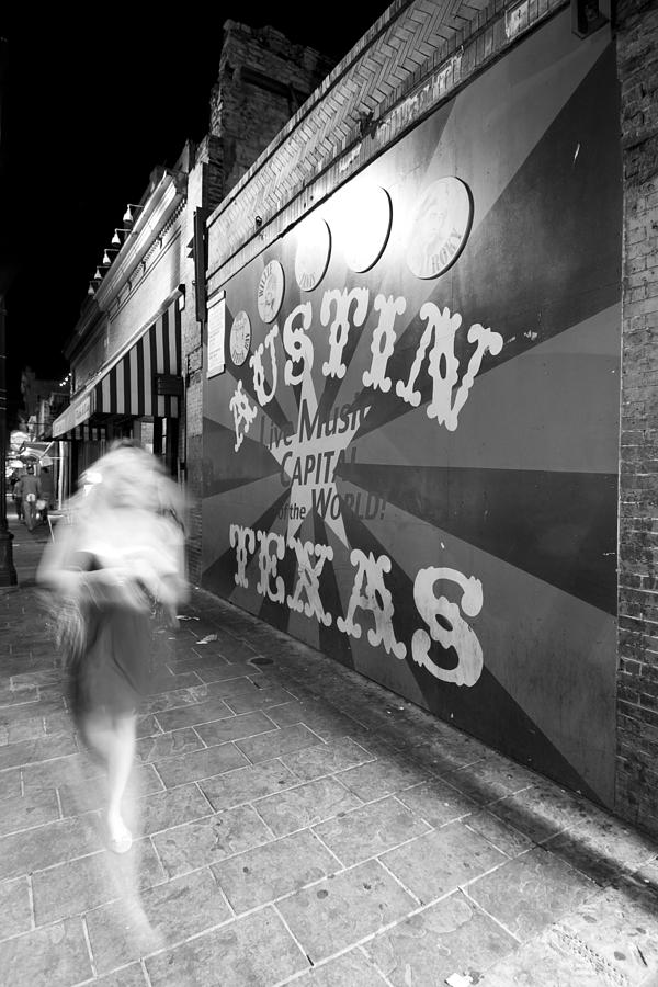 Austin Photograph - 6th Street Mural Mono by John Gusky