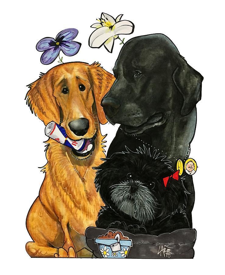 Pet Portrait Drawing - 7-1396 Scallon by John LaFree