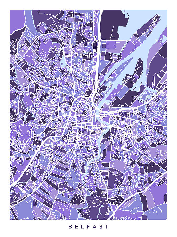 Belfast Northern Ireland City Map Digital Art by Michael Tompsett