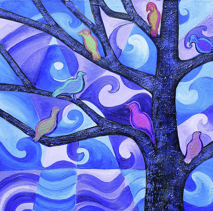 Tree Painting - 7 Birds On A Tree by Stephen Humphries
