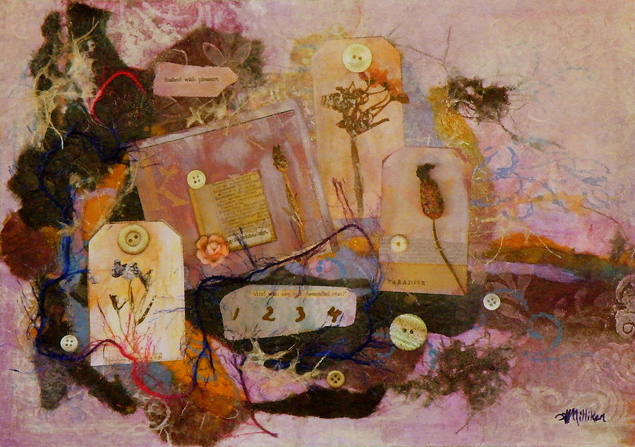 Mixed Media Painting - 7 Buttons by Tara Milliken