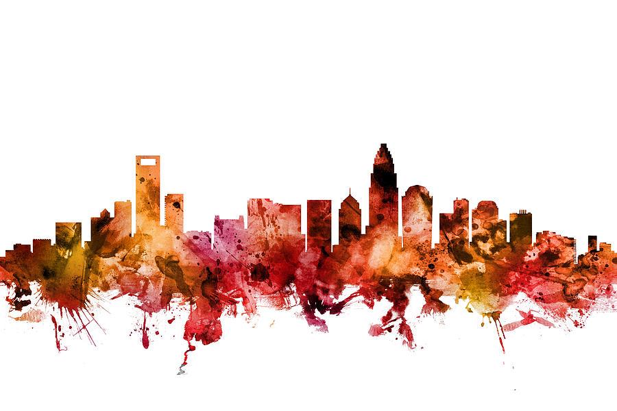 Charlotte Digital Art - Charlotte North Carolina Skyline by Michael Tompsett