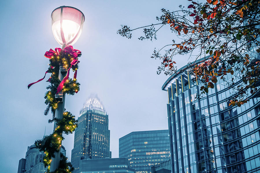 Christmas Season Decorations Around Charlotte North Carolina And Photograph