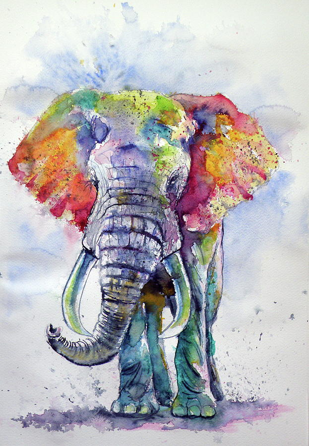 Colorful Elephant Painting By Kovacs Anna Brigitta