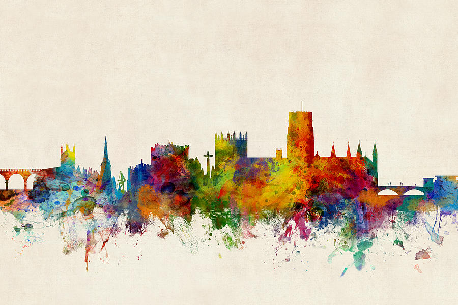 Durham england skyline cityscape digital art by michael for Cityscape mural