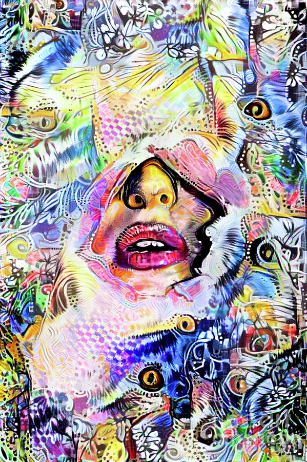 Anonymous Digital Art - Hidden Face With Lipstick by Amy Cicconi