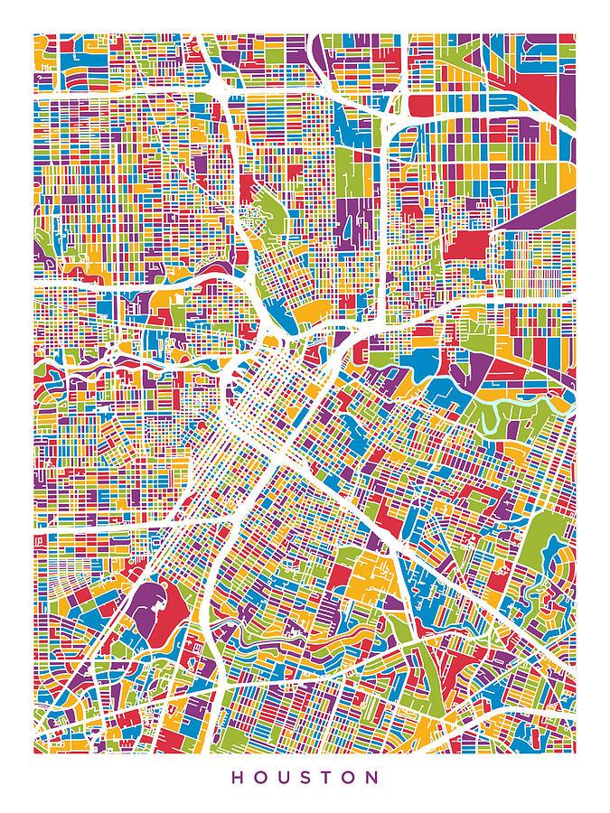 Houston Texas City Street Map Digital Art by Michael Tompsett on