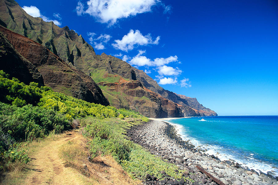 Blue Photograph - Na Pali Coast by Peter French - Printscapes