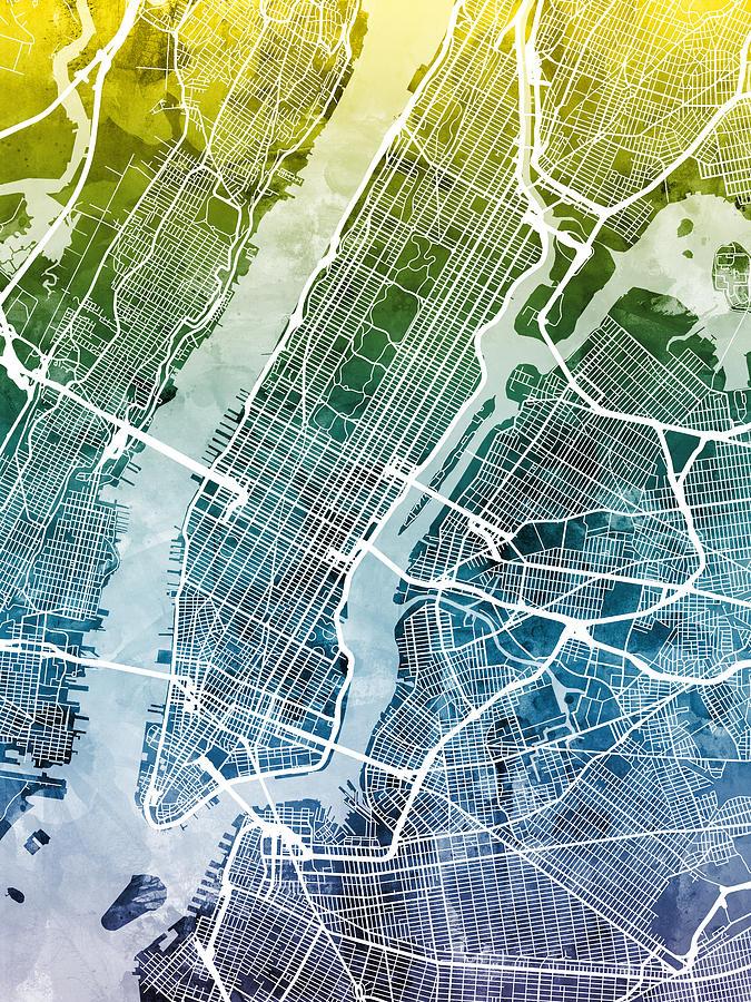 Street Map Of New York.New York City Street Map Digital Art By Michael Tompsett