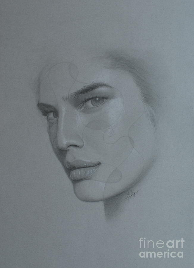 Face Drawing - No Title by Marek Halko