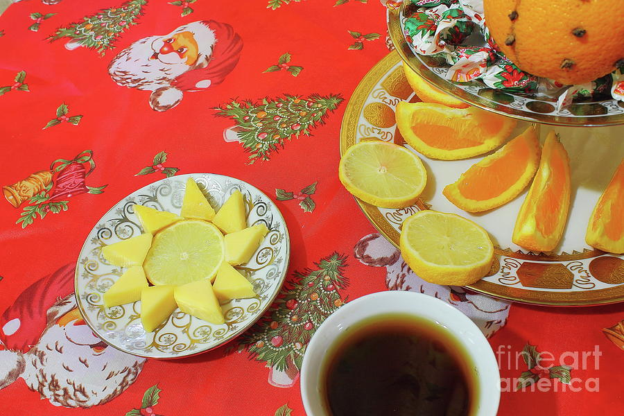 On The Eve Of Christmas. Tea Drinking With Cheese. Photograph