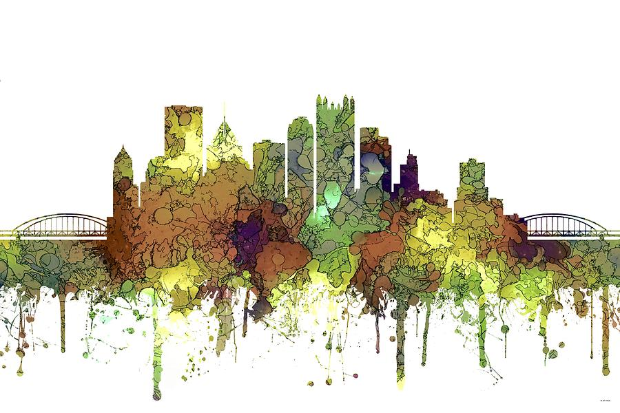 Landscape Digital Art - Pittsburgh Pennsylvania Skyline by Marlene Watson