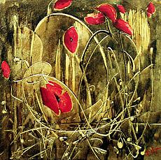 Flowers Painting - Poppy by Nelu Gradeanu