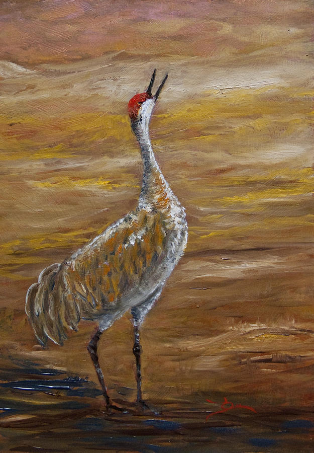 Sandhill Crane Painting By Dee Carpenter