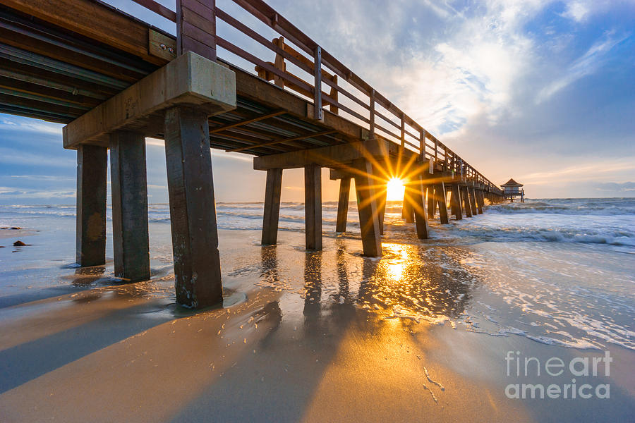 Sunset Naples Pier, Florida by Hans- Juergen Leschmann