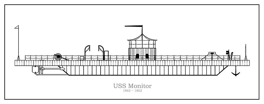 USS Monitor ship plans Drawing by StockPhotosArt ComPixels