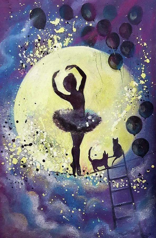 Walk To The Moon Mixed Media by Gergana Bojikova