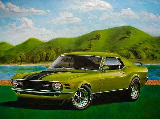 Muscle Car Painting - 70 Mach 1 by Steve Mashburn