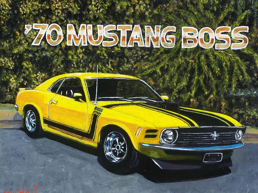 Hotrod Painting - 70 Mustang Boss by Charles Vaughn