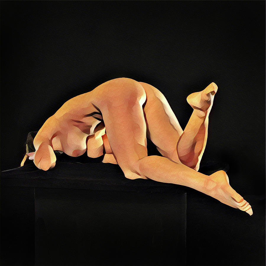 7002s-AMG Beautiful Mature Woman One Nude Foot Up Sexy Sensual by Chris Maher
