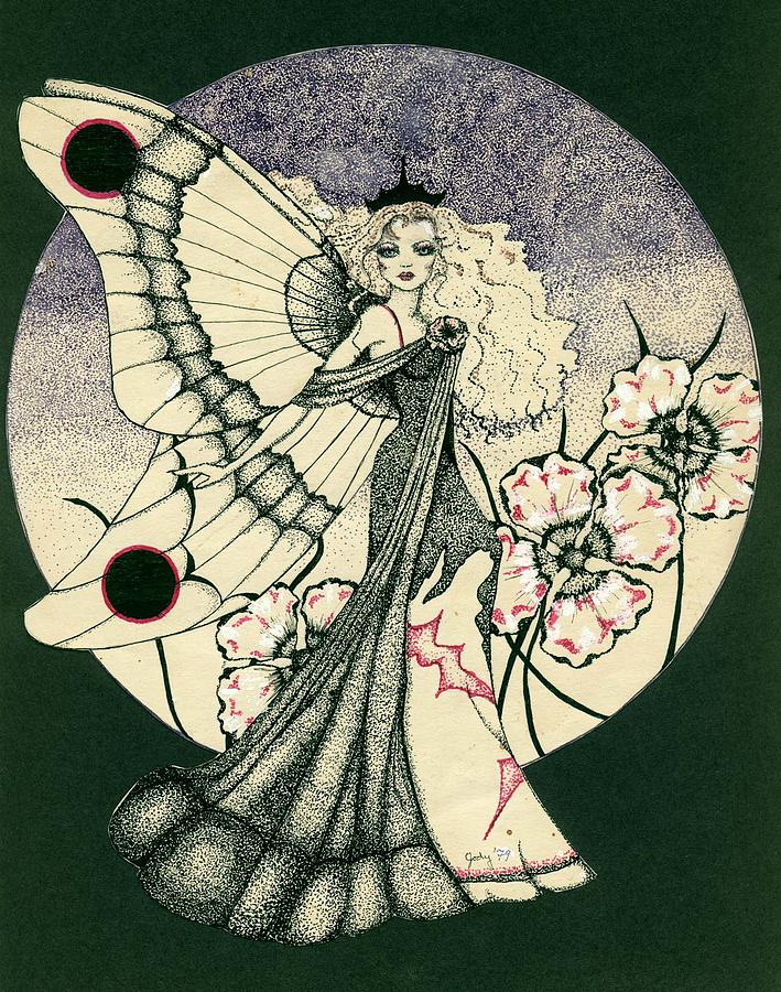 Glamour Drawing - 70s Angel by V Boge