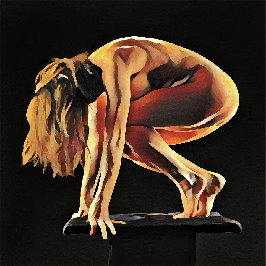 7188s-AMG Nude Watercolor of Sensual Mature Woman by Chris Maher
