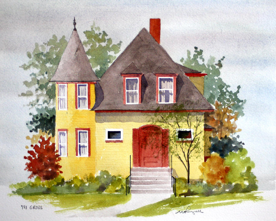 Architecture Painting - 721 Grove Ave by William Renzulli