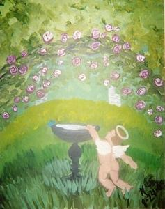 Angel Painting - Cherub And Birdbath                 Original by Christine Ward